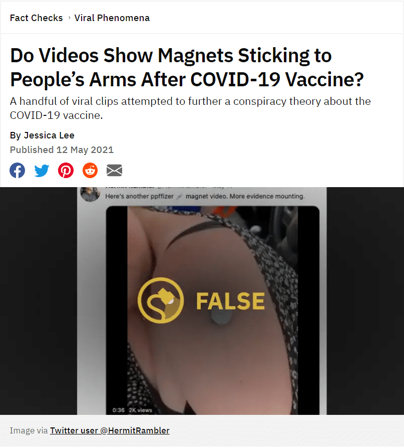 Weird Videos Claim Magnets Stick To Vaccine Shot Site On Arms, Tim Says BULLSHIT