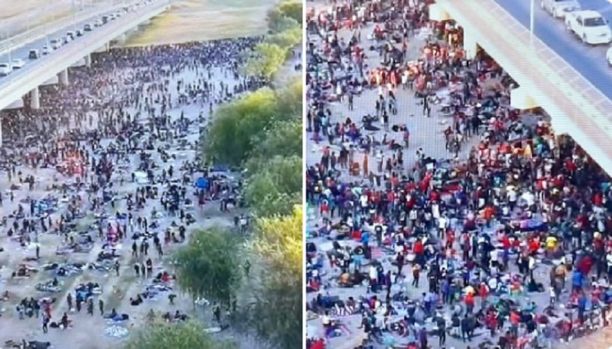 Over 8,000 Mostly Haitian Migrants Waiting to Be Processed Under a Bridge in Texas