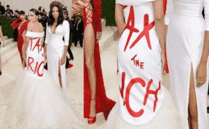 AOC Wears 'Tax The Rich' Dress to The Met Gala